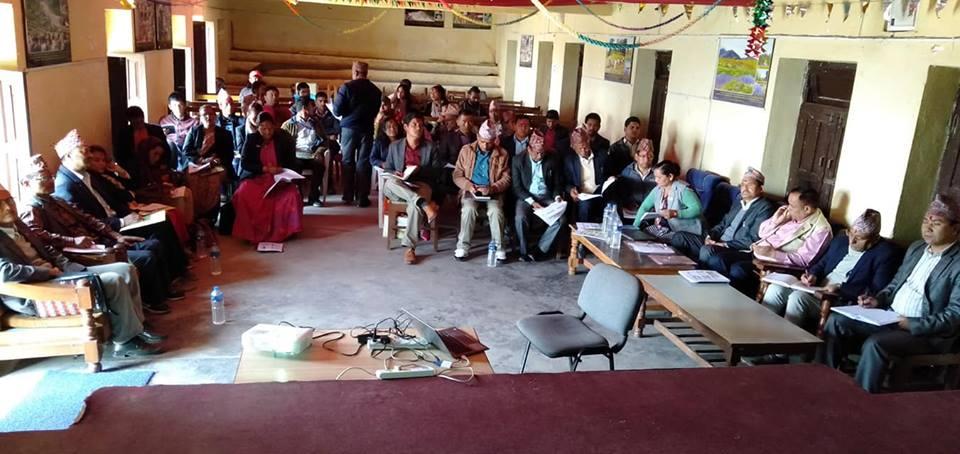 २०७५ चैत्र ७ गत्ते जाजरकोट जिल्लामा सञ्चालित आवधिक योजनाको सुझाव संकलन गोेेेष्ठीका सहभागीहरु